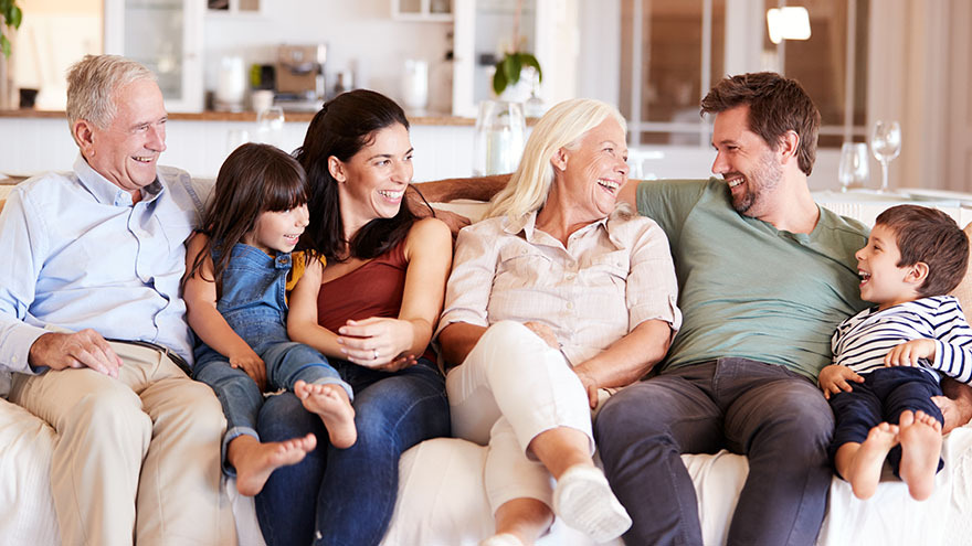 intergenerational family on the couch